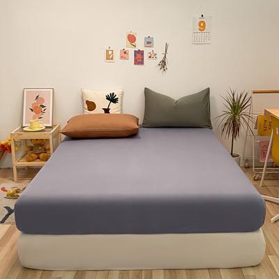 2021新款-全棉水洗棉混搭款单床笠实拍图 150cmx200cm 紫灰