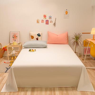 2021新款-全棉水洗棉混搭款单床单实拍图 160cmx230cm 本白