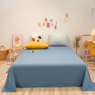 2021新款-全棉水洗棉混搭款单床单实拍图 160cmx230cm 宾利蓝