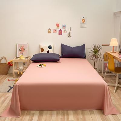 2021新款-全棉水洗棉混搭款单床单实拍图 160cmx230cm 豆沙