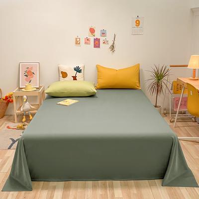 2021新款-全棉水洗棉混搭款单床单实拍图 160cmx230cm 复古绿