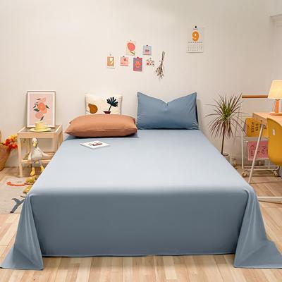 2021新款-全棉水洗棉混搭款单床单实拍图 160cmx230cm 湖蓝