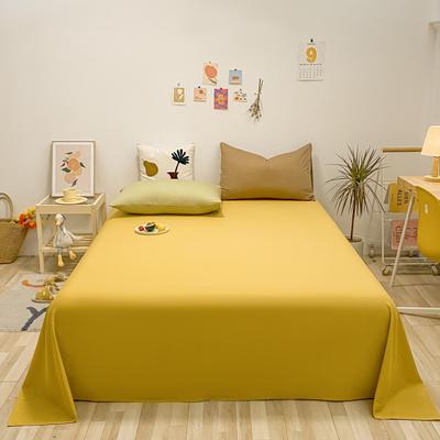2021新款-全棉水洗棉混搭款单床单实拍图 160cmx230cm 姜黄