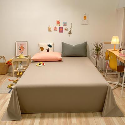 2021新款-全棉水洗棉混搭款单床单实拍图 160cmx230cm 卡其