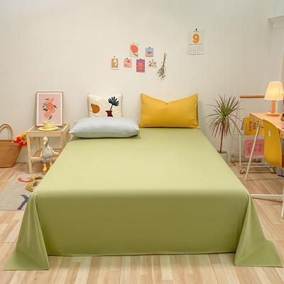 2021新款-全棉水洗棉混搭款单床单实拍图 160cmx230cm 抹茶绿