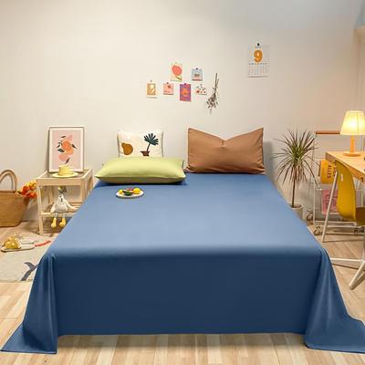 2021新款-全棉水洗棉混搭款单床单实拍图 160cmx230cm 牛仔蓝