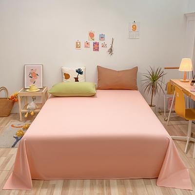 2021新款-全棉水洗棉混搭款单床单实拍图 160cmx230cm 浅粉