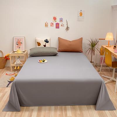 2021新款-全棉水洗棉混搭款单床单实拍图 160cmx230cm 浅灰