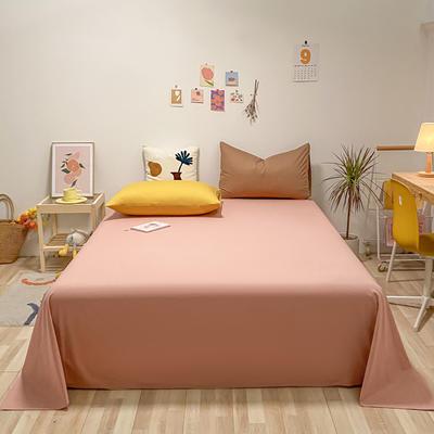 2021新款-全棉水洗棉混搭款单床单实拍图 160cmx230cm 珊瑚红