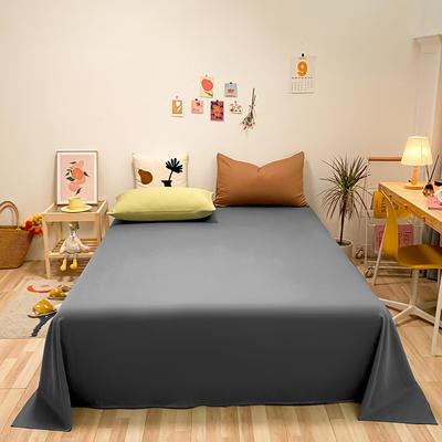 2021新款-全棉水洗棉混搭款单床单实拍图 160cmx230cm 深灰