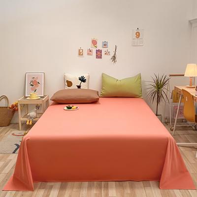 2021新款-全棉水洗棉混搭款单床单实拍图 160cmx230cm 时尚桔