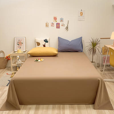 2021新款-全棉水洗棉混搭款单床单实拍图 160cmx230cm 太妃糖