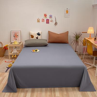 2021新款-全棉水洗棉混搭款单床单实拍图 160cmx230cm 紫灰