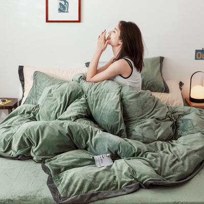 2019新款纯色水晶绒四件套简约款 1.2m床单款三件套 果绿