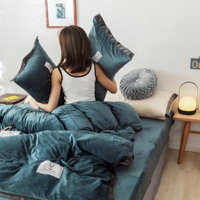2019新款纯色水晶绒四件套简约款 1.2m床单款三件套 蓝