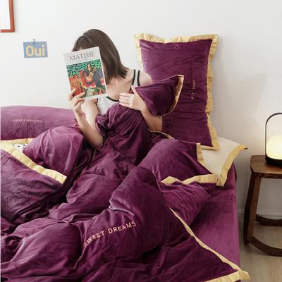 2019新款纯色水晶绒四件套时尚款 1.2m床单款三件套 时尚紫