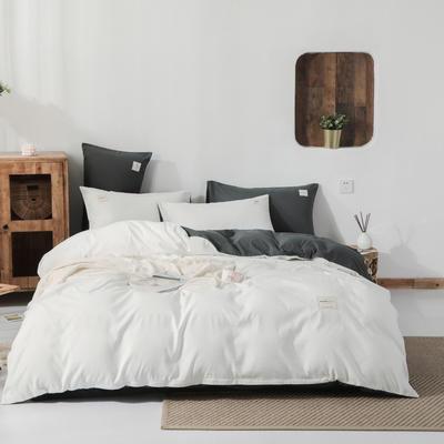 2019新款纯色磨毛四件套 1.2m床三件套 白+深灰
