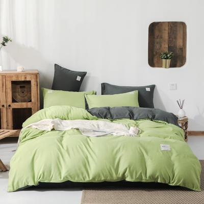 2019新款纯色磨毛四件套 1.2m床三件套 豆绿+深灰