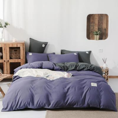 2019新款純色磨毛四件套 1.2m床三件套 紫+深灰