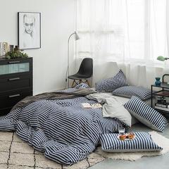 2019新品天竺棉针织四件套 1.5m(5英尺)床 藏青中条