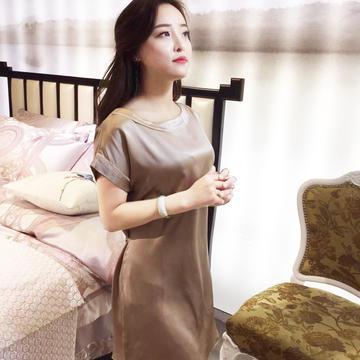 2019洁绣真丝睡衣春夏桑蚕丝裙装家居服