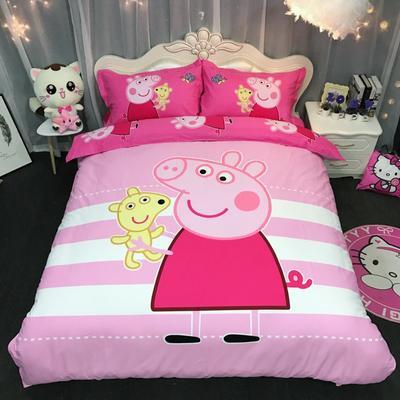 2018新款纯棉磨毛卡通四件套 1.2m(4英尺)床 小猪佩奇横条粉