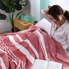 (总)100%里外全棉水洗棉花夏被空调被纯棉夏凉被学生夏季春秋被 150x200cm 粗细条格粉