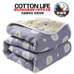 六层纱布毛巾被婴儿空调被纯棉夏凉被成人双人单人儿童夏季薄毯子 200*240 太阳灰