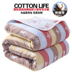 六层纱布毛巾被婴儿空调被纯棉夏凉被成人双人单人儿童夏季薄毯子 120*150 木马