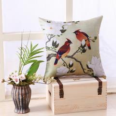 美式花鸟冰麻抱枕 45x45cm单套 04