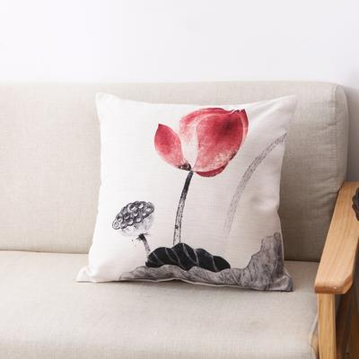 水墨荷花棉麻抱枕 45*45cm(单套) 玉莲