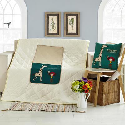 亚麻抱枕被 42*42cm打开110*160cm 长颈鹿女孩