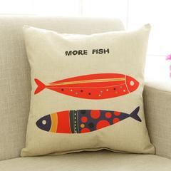 2018新款亚麻抱枕-卡通系列 50*50cm抱枕含芯 10两只鱼