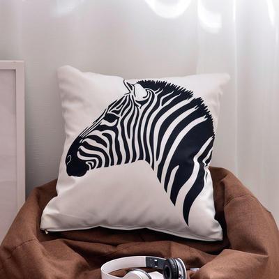 2018新款拉绒抱枕-黑白风格 45*45cm含芯 白底斑马