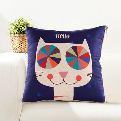 仿亚麻抱枕被 小号绗缝款40*40cm展开1*1.5m hello猫
