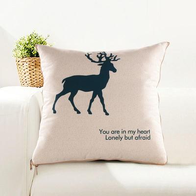 仿亚麻抱枕被 中号绗缝款45*45cm展开1.2*1. 一只鹿