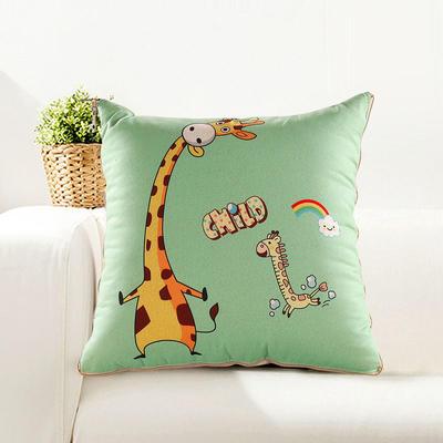 仿亚麻抱枕被 大号绗缝款50*50cm展开1.5*2m 长颈鹿伙伴