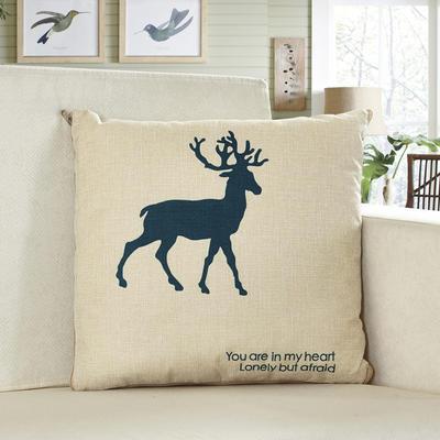 亚麻卡通抱枕被 42*42cm打开110*160cm 一只鹿