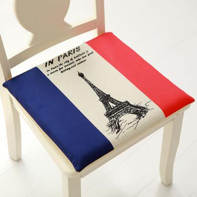 印花磨毛坐垫 40*40cm硬质棉芯 埃菲尔铁塔