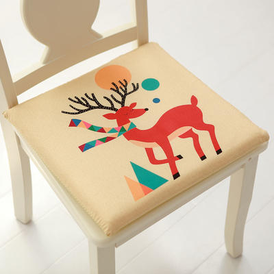 印花磨毛坐垫 40*40cm海绵芯 围巾鹿