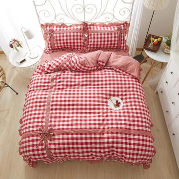 2018新款韩版蝴蝶结工艺款化纤四件套色织四件套 1.5m(5英尺)床 快乐气息-红色