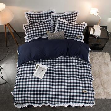 享睡家纺  色织水洗棉四件套化纤四件套(总) 小号1.2m床三件套 快乐气息-藏蓝