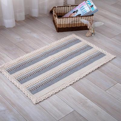 2018新款HX-822 棉线编织地毯 客厅茶几床边毯 45*45椅子垫 小河流水