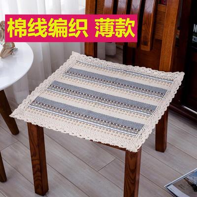 2018新款HX-8803 椅子垫棉线编织坐垫 43X43cm 小河流水 (1)