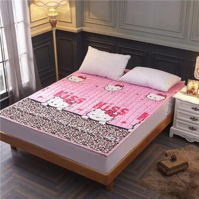 法兰绒床垫子法莱绒床垫床褥护垫火星时代网供380克重加厚 0.9*2.0米 粉色纹底