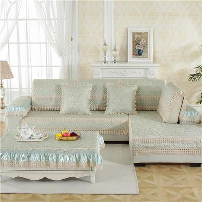 2018新款HXSD-2高精密提花高档沙发垫(终极版) 50*50cm(抱枕套) 小梅花-墨绿
