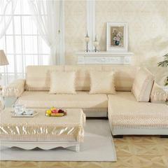 2018新款HXSD-2高精密提花高档沙发垫(终极版) 90*210cm(四人位) 小梅花-米黄