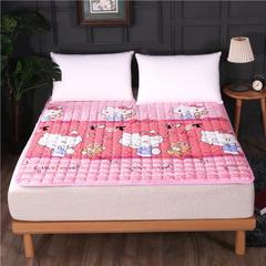 2018新款跑量HXSD-180克法莱绒床垫床褥(终极版) 0.9*2米 粉色纹底