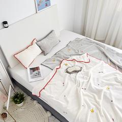 2018新款-绣花儿童绒毯、宝宝绒盖毯,多功能绒毯(棚拍) 120×160(婴儿,小童) 火箭白色