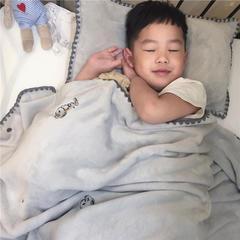 2018新款-绣花儿童绒毯、宝宝绒盖毯,多功能绒毯(实拍) 120×160(婴儿,小童) 史努比灰色
